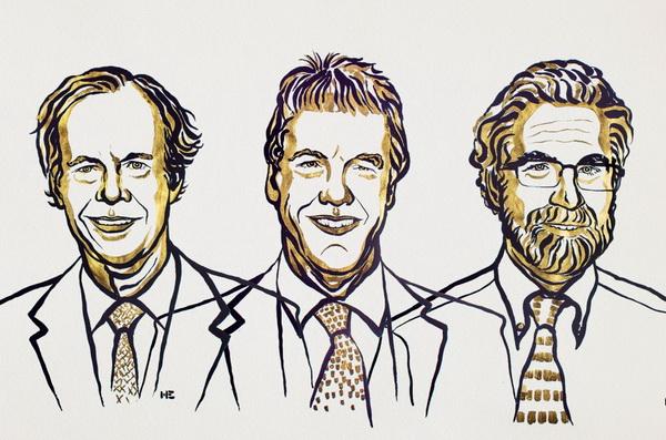 Лауреати Нобелівської премії з фізіології та медицини за 2019 р.: Вільям Келін, Пітер Реткліф і Грегг Семенца (Niklas Elmedhed / Nobel Media)