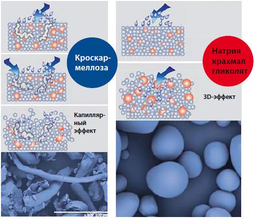 Рис. 3. Отличия по механизму действия супердезинтегрантов кроскармеллозы и натрия крахмала гликолята [21, с изм.]