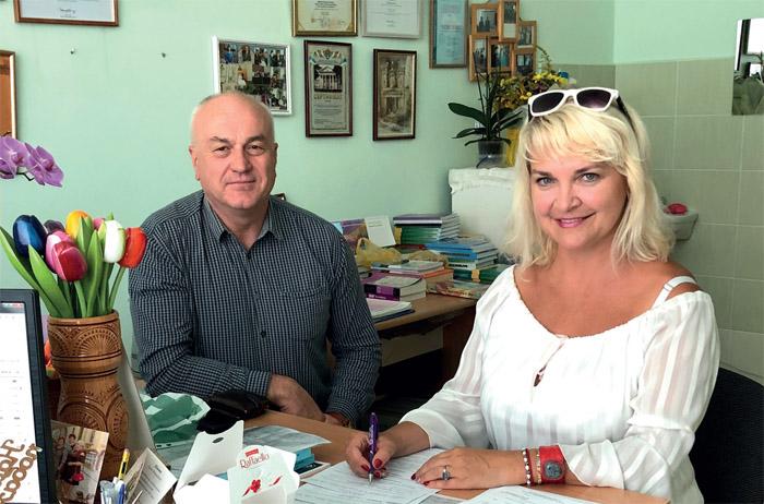 Ольга Заліська і Мирон Шевців, директор МКП «Фармако»
